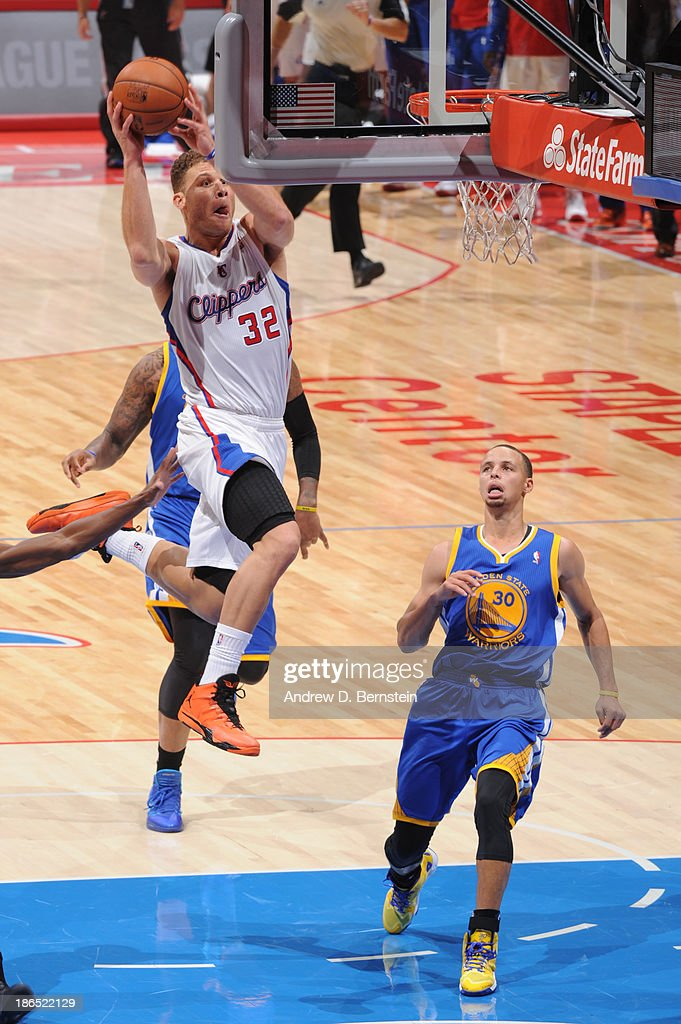 <a gi-track='captionPersonalityLinkClicked' href=/galleries/search?phrase=Blake+Griffin+-+Basketball+Player&family=editorial&specificpeople=4216010 ng-click='$event.stopPropagation()'>Blake Griffin</a> #32 of the Los Angeles Clippers attempts a shot during a game against the Golden State Warriors at STAPLES Center on October 31, 2013 at in Los Angeles, California.