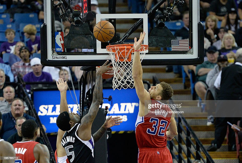 Blake Griffin #32 of the Los Angeles Clippers blocks the shot of John Salmons #5 of the Sacrameto Kings at Sleep Train Arena on November 1, 2013 in Sacramento, California.