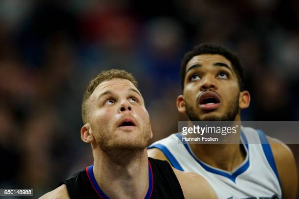 Blake Griffin of the Los Angeles Clippers boxes out KarlAnthony Towns of the Minnesota Timberwolves for a free throw during the second quarter of the...