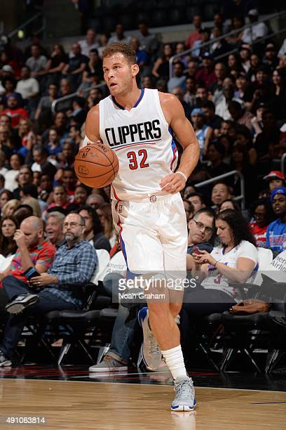 Blake Griffin of the Los Angeles Clippers brings the ball up court against the Denver Nuggets during a preseason game on October 2 2015 at STAPLES...