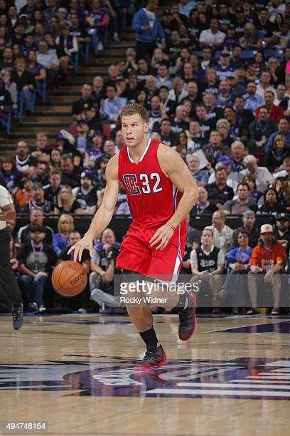Blake Griffin of the Los Angeles Clippers brings the ball up court against the Sacramento Kings on October 28 2015 at Sleep Train Arena in Sacramento...