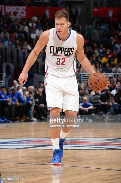 Blake Griffin of the Los Angeles Clippers brings the ball up court against the Golden State Warriors on November 19 2015 at STAPLES Center in Los...