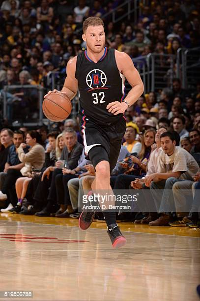 Blake Griffin of the Los Angeles Clippers brings the ball up court against the Los Angeles Lakers on April 6 2016 at STAPLES Center in Los Angeles...