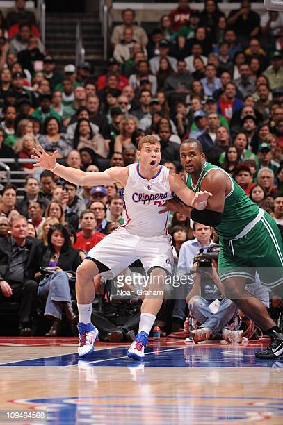 Blake Griffin of the Los Angeles Clippers calls for the ball in the post against Glen Davis of the Boston Celtics at Staples Center on February 26...