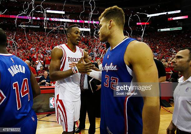 Blake Griffin of the Los Angeles Clippers congratulates Dwight Howard of the Houston Rockets after the Rockets defeated the Clippers 113 to 100...