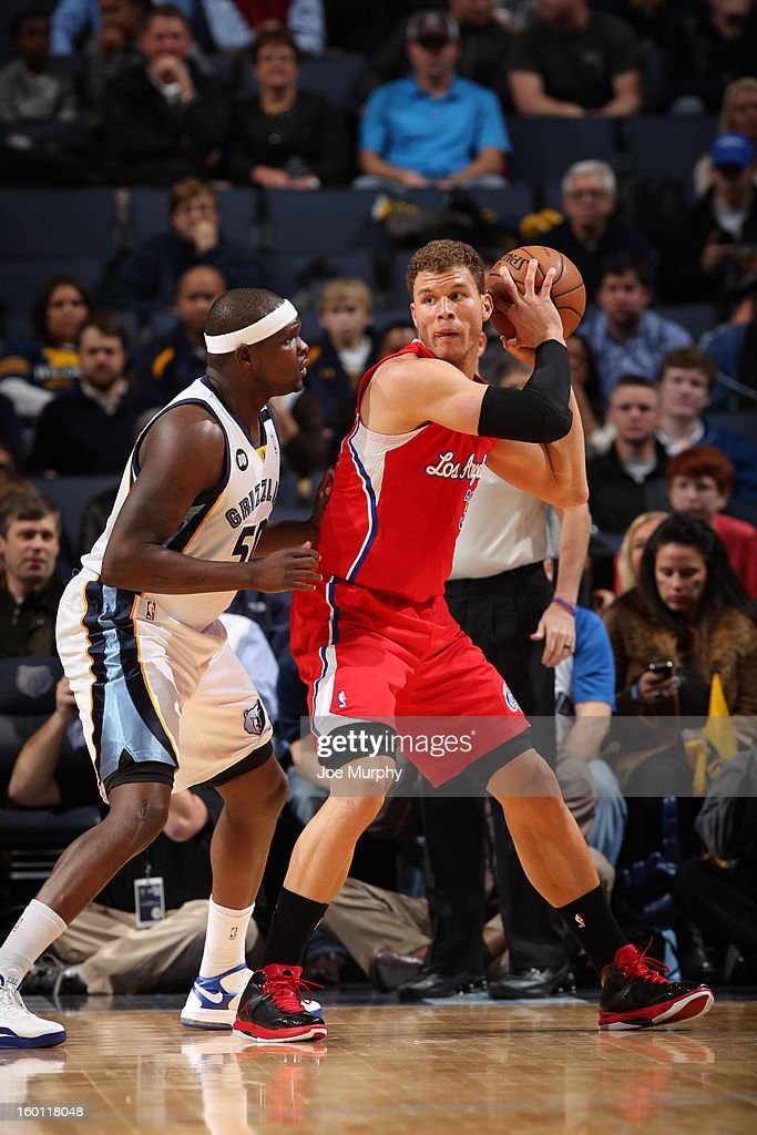 <a gi-track='captionPersonalityLinkClicked' href=/galleries/search?phrase=Blake+Griffin&family=editorial&specificpeople=4216010 ng-click='$event.stopPropagation()'>Blake Griffin</a> #32 of the Los Angeles Clippers controls the ball against <a gi-track='captionPersonalityLinkClicked' href=/galleries/search?phrase=Zach+Randolph&family=editorial&specificpeople=201595 ng-click='$event.stopPropagation()'>Zach Randolph</a> #50 of the Memphis Grizzlies on January 14, 2013 at FedExForum in Memphis, Tennessee.