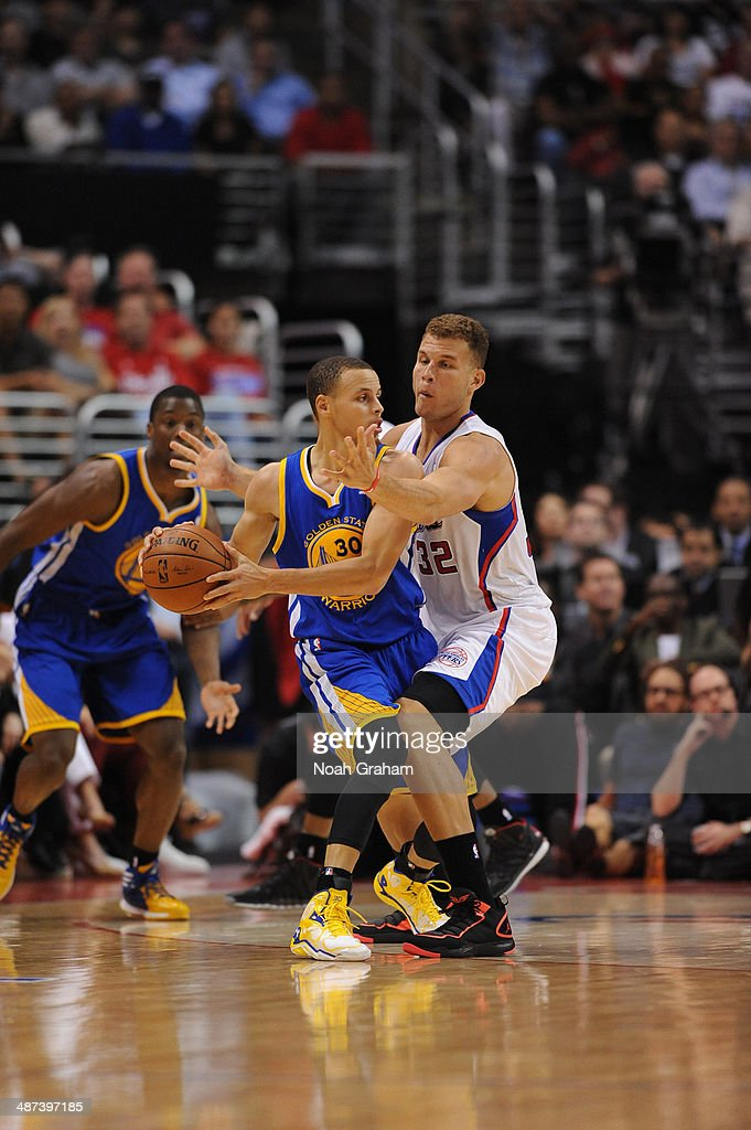 <a gi-track='captionPersonalityLinkClicked' href=/galleries/search?phrase=Blake+Griffin+-+Basketball+Player&family=editorial&specificpeople=4216010 ng-click='$event.stopPropagation()'>Blake Griffin</a> #32 of the Los Angeles Clippers defends against <a gi-track='captionPersonalityLinkClicked' href=/galleries/search?phrase=Stephen+Curry+-+Basketball+Player&family=editorial&specificpeople=5040623 ng-click='$event.stopPropagation()'>Stephen Curry</a> #30 of the Golden State Warriors in Game Five of the Western Conference Quarterfinals at Staples Center on April 29, 2014 in Los Angeles, California.