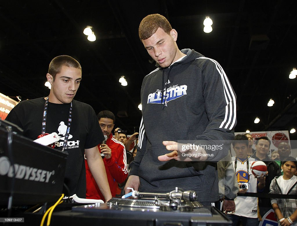 Blake Griffin of the Los Angeles Clippers does a appearance at the State Farm Scratch Center at Jam Session presented by Adidas during NBA All Star Weekend on February 20, 2011 in Los Angeles California.