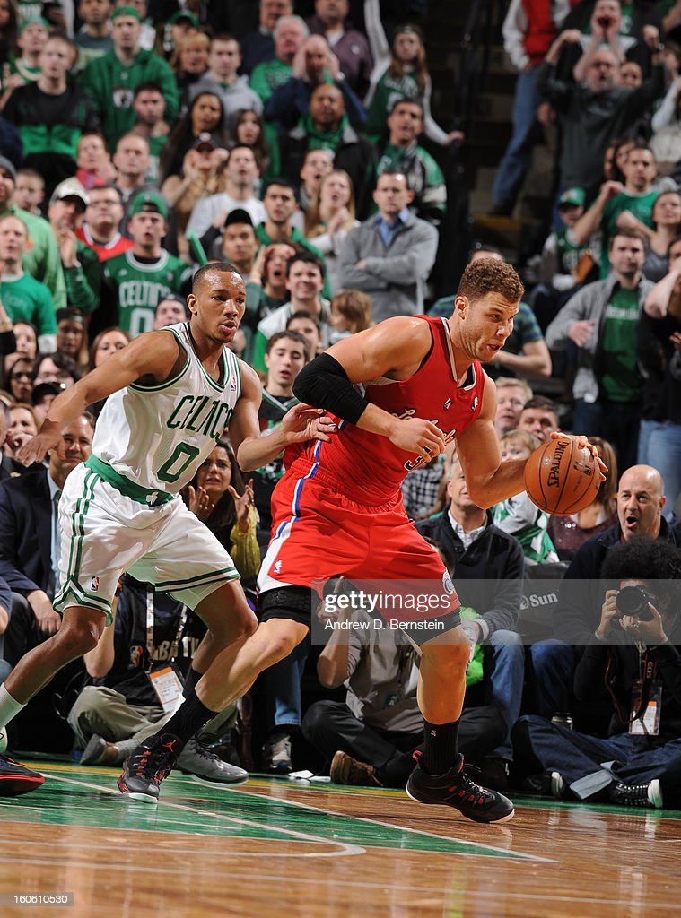 Blake Griffin #32 of the Los Angeles Clippers drives against Avery Bradley #0 of the Boston Celtics during the game between the Boston Celtics and the Los Angeles Clippers on February 3, 2013 at the TD Garden in Boston, Massachusetts.