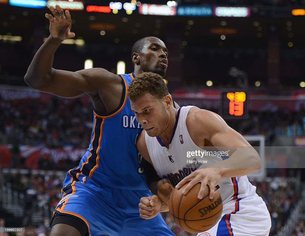 Blake Griffin #32 of the Los Angeles Clippers drives on Serge Ibaka #9 of the Oklahoma City Thunder during a 109-97 Thunder win at Staples Center on January 22, 2013 in Los Angeles, California.