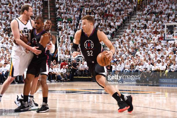 Blake Griffin of the Los Angeles Clippers drives to the basket during the game against the Utah Jazz during the Western Conference Quarterfinals of...