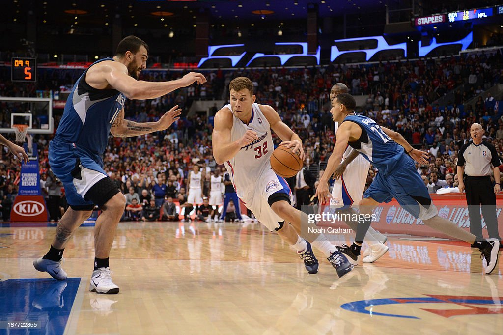 <a gi-track='captionPersonalityLinkClicked' href=/galleries/search?phrase=Blake+Griffin+-+Basketball+Player&family=editorial&specificpeople=4216010 ng-click='$event.stopPropagation()'>Blake Griffin</a> #32 of the Los Angeles Clippers drives to the basket against <a gi-track='captionPersonalityLinkClicked' href=/galleries/search?phrase=Nikola+Pekovic&family=editorial&specificpeople=829137 ng-click='$event.stopPropagation()'>Nikola Pekovic</a> #14 of the Minnesota Timberwolves at Staples Center on November 11, 2013 in Los Angeles, California.