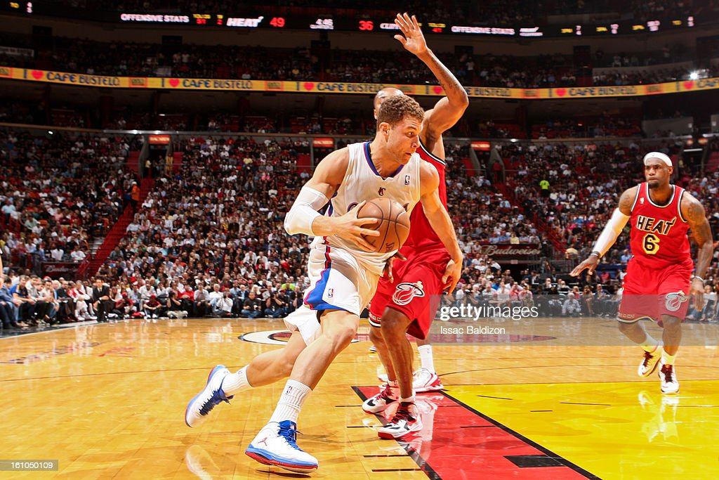 Blake Griffin #32 of the Los Angeles Clippers drives to the basket against the Miami Heat on February 8, 2013 at American Airlines Arena in Miami, Florida.