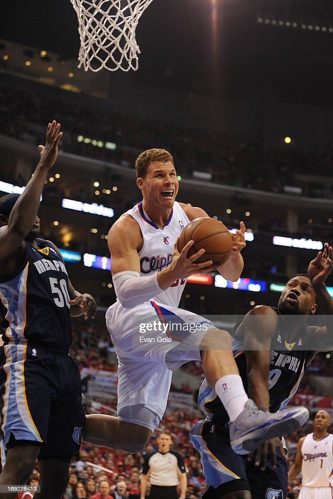 <a gi-track='captionPersonalityLinkClicked' href=/galleries/search?phrase=Blake+Griffin+-+Basketball+Player&family=editorial&specificpeople=4216010 ng-click='$event.stopPropagation()'>Blake Griffin</a> #32 of the Los Angeles Clippers drives to the basket against the Memphis Grizzlies at Staples Center in Game One of the Western Conference Quarterfinals during the 2013 NBA Playoffs on April 20, 2013 in Los Angeles, California.