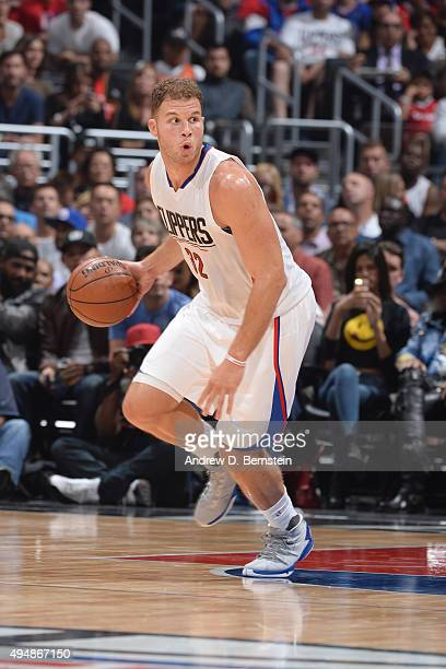Blake Griffin of the Los Angeles Clippers drives to the basket against the Dallas Mavericks during the game on October 29 2015 at STAPLES Center in...