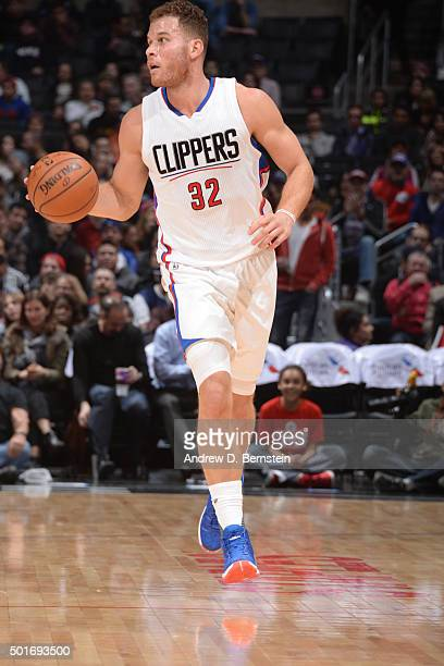 Blake Griffin of the Los Angeles Clippers drives to the basket against the Milwaukee Bucks during the game on December 16 2015 at STAPLES Center in...