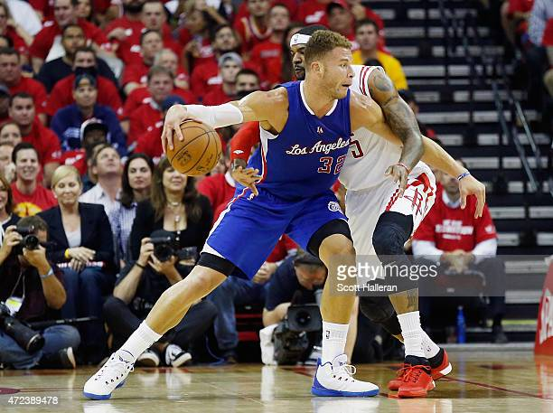 Blake Griffin of the Los Angeles Clippers drives with the ball against Josh Smith of the Houston Rockets during Game Two in the Western Conference...