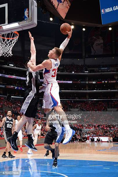 Blake Griffin of the Los Angeles Clippers dunks against Aron Baynes of the San Antonio Spurs in Game One of the Western Conference Quarterfinals...