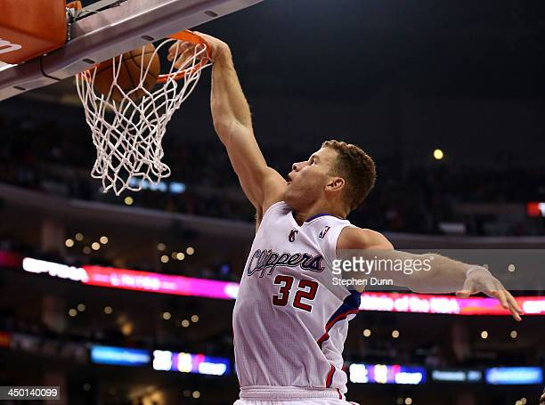 Blake Griffin of the Los Angeles Clippers dunks against the Brooklyn Nets at Staples Center on November 16 2013 in Los Angeles California The...