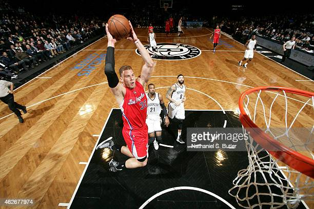 Blake Griffin of the Los Angeles Clippers dunks against the Brooklyn Nets at the Barclays Center on February 2 2015 in in the Brooklyn borough of New...