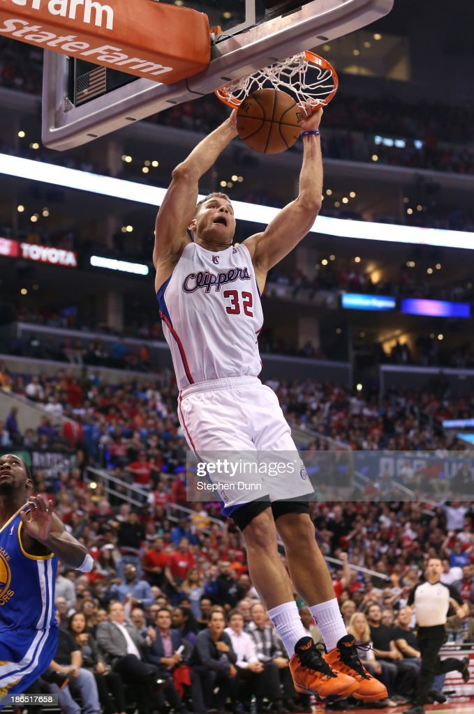 <a gi-track='captionPersonalityLinkClicked' href=/galleries/search?phrase=Blake+Griffin+-+Basketball+Player&family=editorial&specificpeople=4216010 ng-click='$event.stopPropagation()'>Blake Griffin</a> #32 of the Los Angeles Clippers dunks against the Golden State Warriors at Staples Center on October 31, 2013 in Los Angeles, California. The Clippers won 126-115.