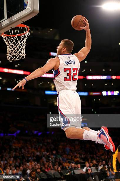 Blake Griffin of the Los Angeles Clippers dunks against the Los Angeles Lakers at Staples Center on October 31 2014 in Los Angeles California NOTE TO...