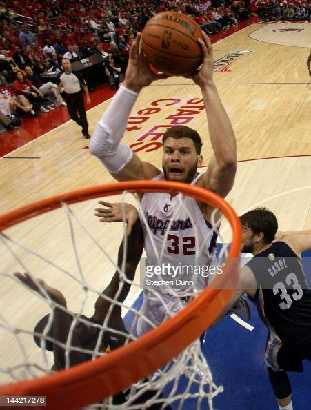 Blake Griffin of the Los Angeles Clippers dunks against the Memphis Grizzlies in Game Four of the Western Conference Quarterfinals in the 2012 NBA...