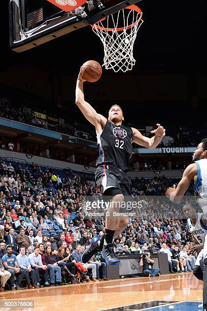 Blake Griffin of the Los Angeles Clippers dunks against the Minnesota Timberwolves on December 7 2015 at Target Center in Minneapolis Minnesota NOTE...
