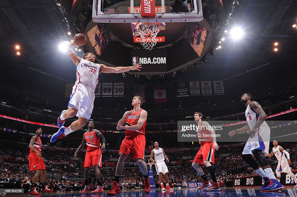 <a gi-track='captionPersonalityLinkClicked' href=/galleries/search?phrase=Blake+Griffin+-+Basketball+Player&family=editorial&specificpeople=4216010 ng-click='$event.stopPropagation()'>Blake Griffin</a> #32 of the Los Angeles Clippers dunks against the Portland Trail Blazers at Staples Center on April 16, 2013 in Los Angeles, California.