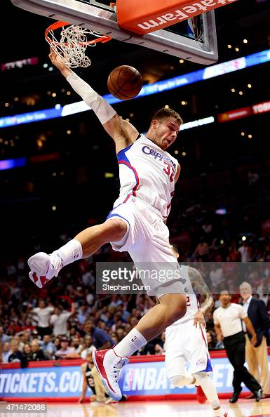 Blake Griffin of the Los Angeles Clippers dunks against the San Antonio Spurs during Game Five of the Western Conference quarterfinals of the 2015...