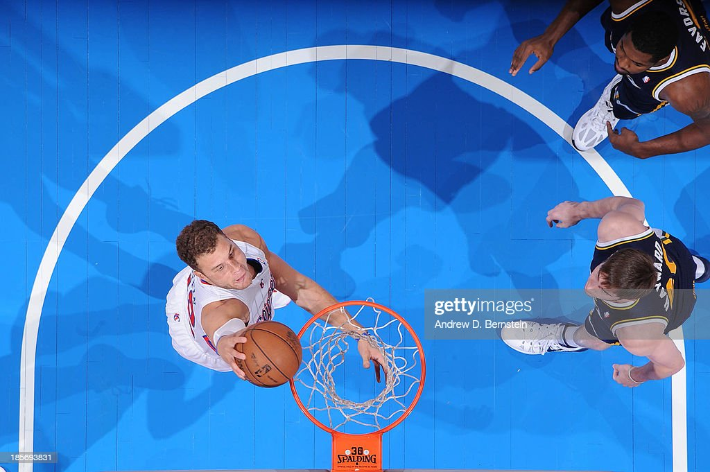 <a gi-track='captionPersonalityLinkClicked' href=/galleries/search?phrase=Blake+Griffin+-+Basketball+Player&family=editorial&specificpeople=4216010 ng-click='$event.stopPropagation()'>Blake Griffin</a> #32 of the Los Angeles Clippers dunks against the Utah Jazz at Staples Center on October 23, 2013 in Los Angeles, California.