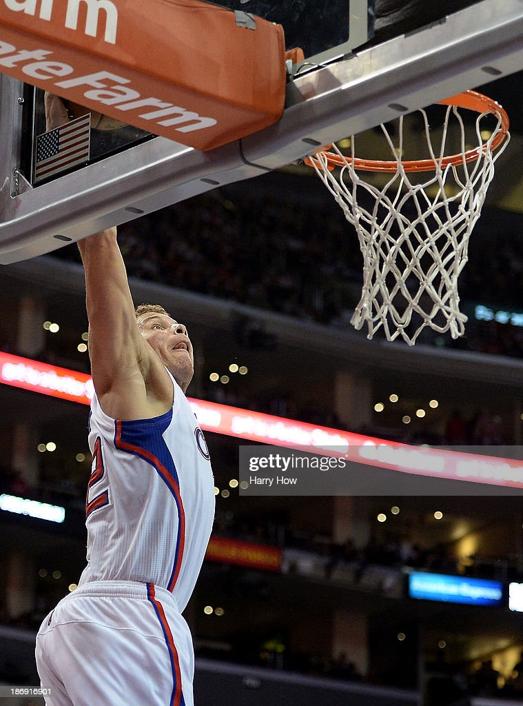 Blake Griffin #32 of the Los Angeles Clippers dunks off a pass during a 137-118 Clipper win over the Houston Rockets at Staples Center on November 4, 2013 in Los Angeles, California.