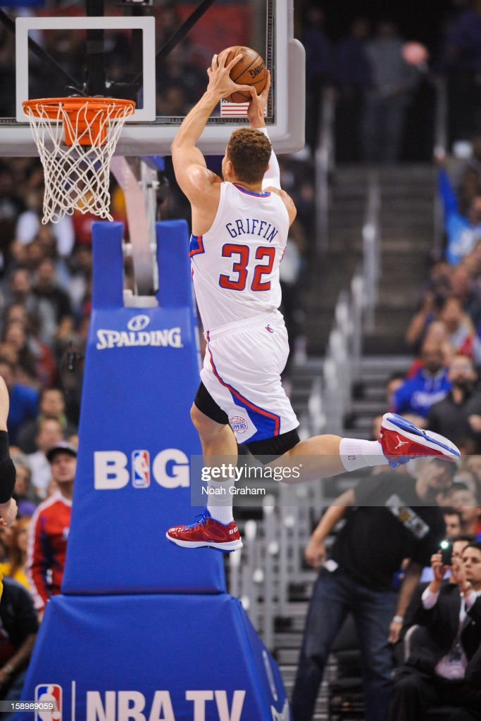 Blake Griffin #32 of the Los Angeles Clippers dunks on an alley-oop pass against the Los Angeles Lakers at Staples Center on January 4, 2013 in Los Angeles, California.