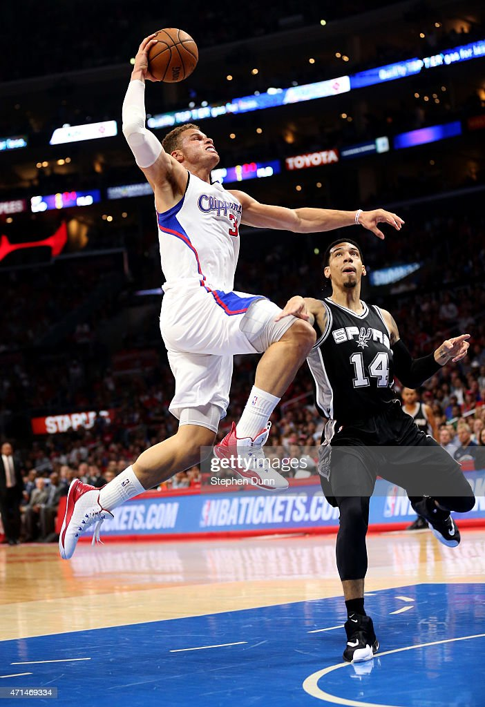 <a gi-track='captionPersonalityLinkClicked' href=/galleries/search?phrase=Blake+Griffin&family=editorial&specificpeople=4216010 ng-click='$event.stopPropagation()'>Blake Griffin</a> #32 of the Los Angeles Clippers dunks over <a gi-track='captionPersonalityLinkClicked' href=/galleries/search?phrase=Danny+Green+-+Basketballer&family=editorial&specificpeople=12822975 ng-click='$event.stopPropagation()'>Danny Green</a> #14 of the San Antonio Spurs during Game Five of the Western Conference quarterfinals of the 2015 NBA Playoffs at Staples Center on April 28, 2015 in Los Angeles, California.