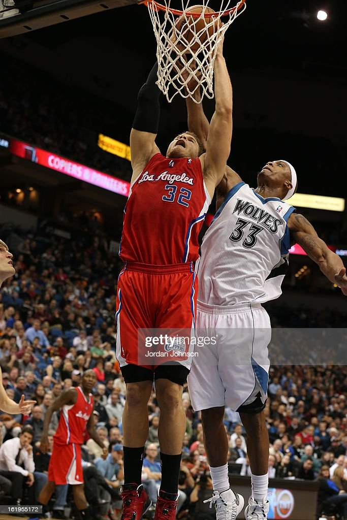 <a gi-track='captionPersonalityLinkClicked' href=/galleries/search?phrase=Blake+Griffin&family=editorial&specificpeople=4216010 ng-click='$event.stopPropagation()'>Blake Griffin</a> #32 of the Los Angeles Clippers dunks the ball against the Minnesota Timberwolves on January 17, 2013 at Target Center in Minneapolis, Minnesota.