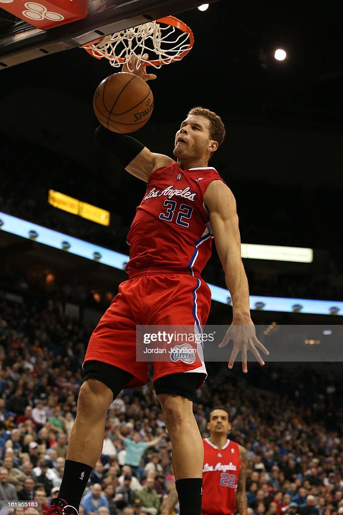 <a gi-track='captionPersonalityLinkClicked' href=/galleries/search?phrase=Blake+Griffin+-+Basketball+Player&family=editorial&specificpeople=4216010 ng-click='$event.stopPropagation()'>Blake Griffin</a> #32 of the Los Angeles Clippers dunks the ball against the Minnesota Timberwolves on January 17, 2013 at Target Center in Minneapolis, Minnesota.