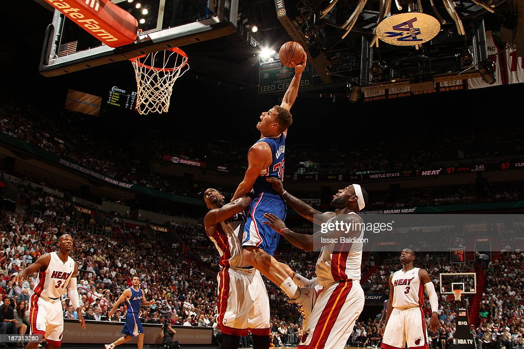 <a gi-track='captionPersonalityLinkClicked' href=/galleries/search?phrase=Blake+Griffin+-+Basketball+Player&family=editorial&specificpeople=4216010 ng-click='$event.stopPropagation()'>Blake Griffin</a> #32 of the Los Angeles Clippers dunks the ball against the Miami Heat on November 7, 2013 at American Airlines Arena in Miami, Florida.