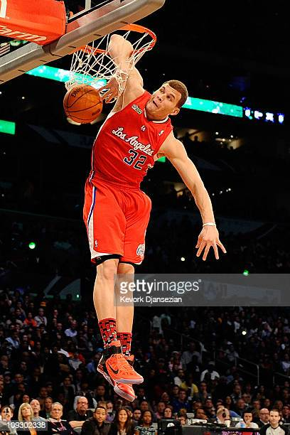Blake Griffin of the Los Angeles Clippers dunks the ball as his elbow hangs on the rim in the Sprite Slam Dunk Contest apart of NBA AllStar Saturday...