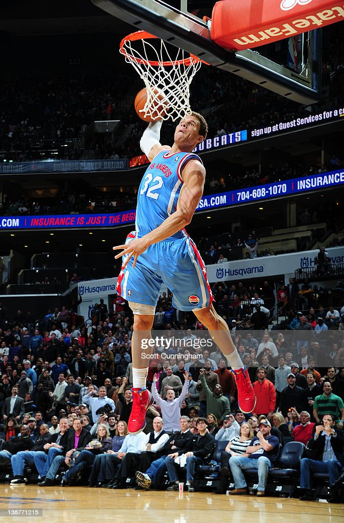 <a gi-track='captionPersonalityLinkClicked' href=/galleries/search?phrase=Blake+Griffin&family=editorial&specificpeople=4216010 ng-click='$event.stopPropagation()'>Blake Griffin</a> #32 of the Los Angeles Clippers dunks the ball during the game between the Los Angeles Clippers and the Charlotte Bobcats on February 11, 2012 at Philips Arena in Atlanta, Georgia.