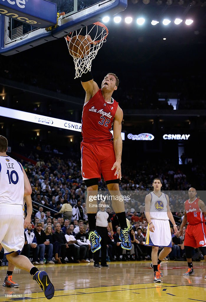 Blake Griffin #32 of the Los Angeles Clippers dunks the ball during their game against the Golden State Warriors at Oracle Arena on January 21, 2013 in Oakland, California.