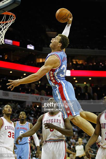 Blake Griffin of the Los Angeles Clippers dunks the ball on the Charlotte Bobcats during their game at Time Warner Cable Arena on February 11 2012 in...