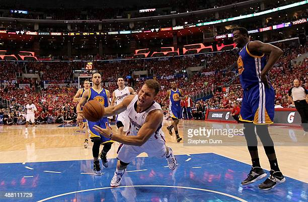 Blake Griffin of the Los Angeles Clippers falls to the floor against the Golden State Warriors in Game Seven of the Western Conference Quarterfinals...