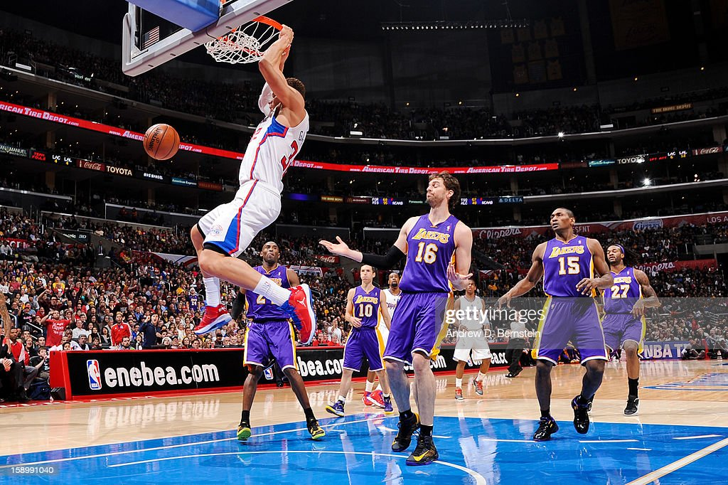 Blake Griffin #32 of the Los Angeles Clippers follows through on a dunk against the Los Angeles Lakers at Staples Center on January 4, 2013 in Los Angeles, California.