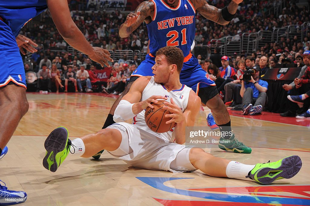 Blake Griffin #32 of the Los Angeles Clippers gains the ball during the game between the Los Angeles Clippers and the New York Knicks at Staples Center on March 17, 2013 in Los Angeles, California.