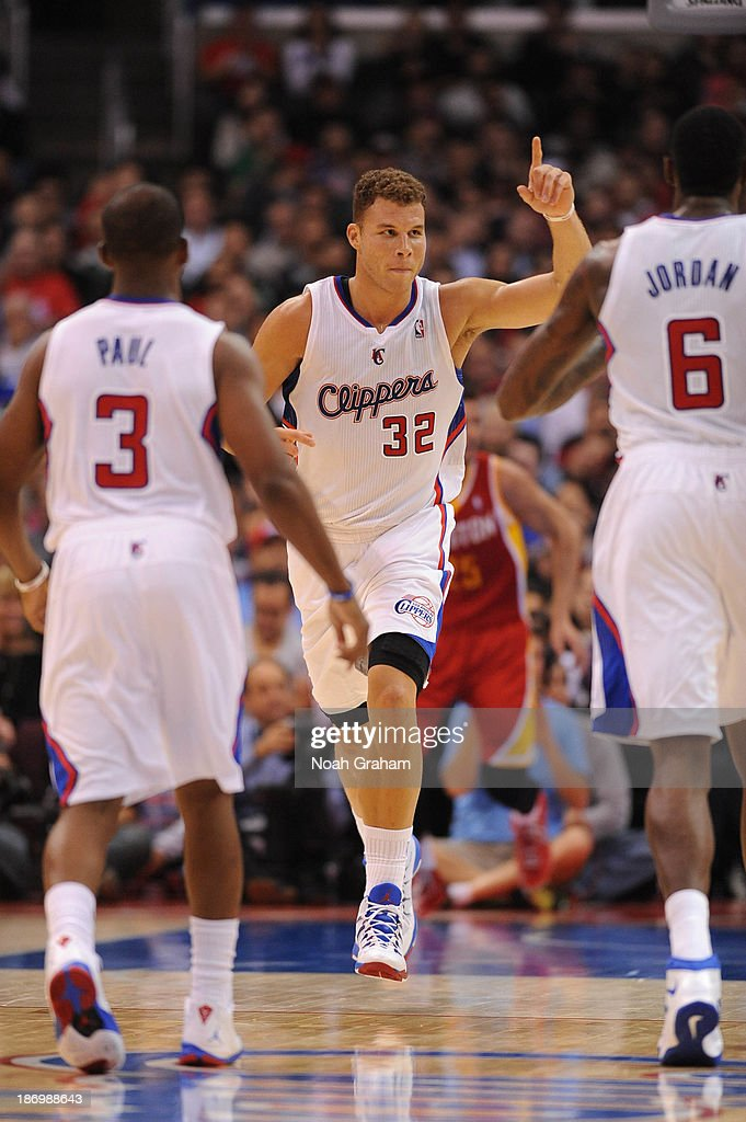 Blake Griffin #32 of the Los Angeles Clippers gestures after making a shot against the Houston Rockets at Staples Center on November 4, 2013 in Los Angeles, California.