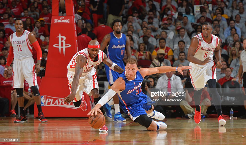 Blake Griffin #32 of the Los Angeles Clippers goes after the loose ball against the Houston Rockets at the Toyota Center During Game One of the Western Conference Semifinals during the 2015 NBA Playoffs on May 4, 2015 in Houston,Texas