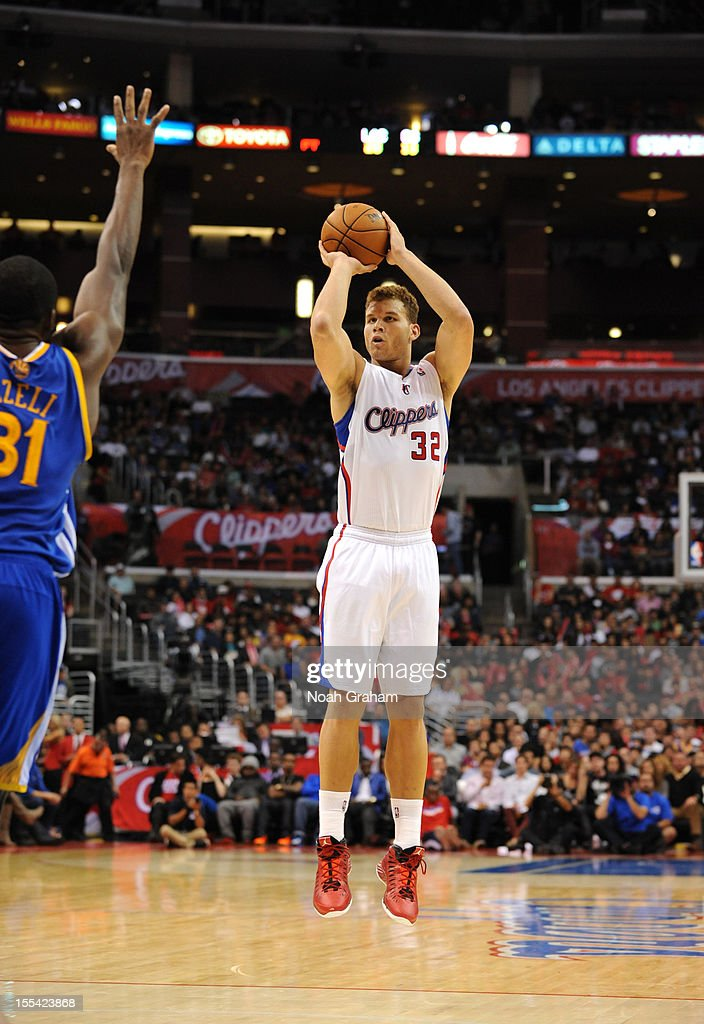 Blake Griffin #32 of the Los Angeles Clippers goes for a jump shot during the game between the Los Angeles Clippers and the Golden State Warriors at Staples Center on November 3, 2012 in Los Angeles, California.