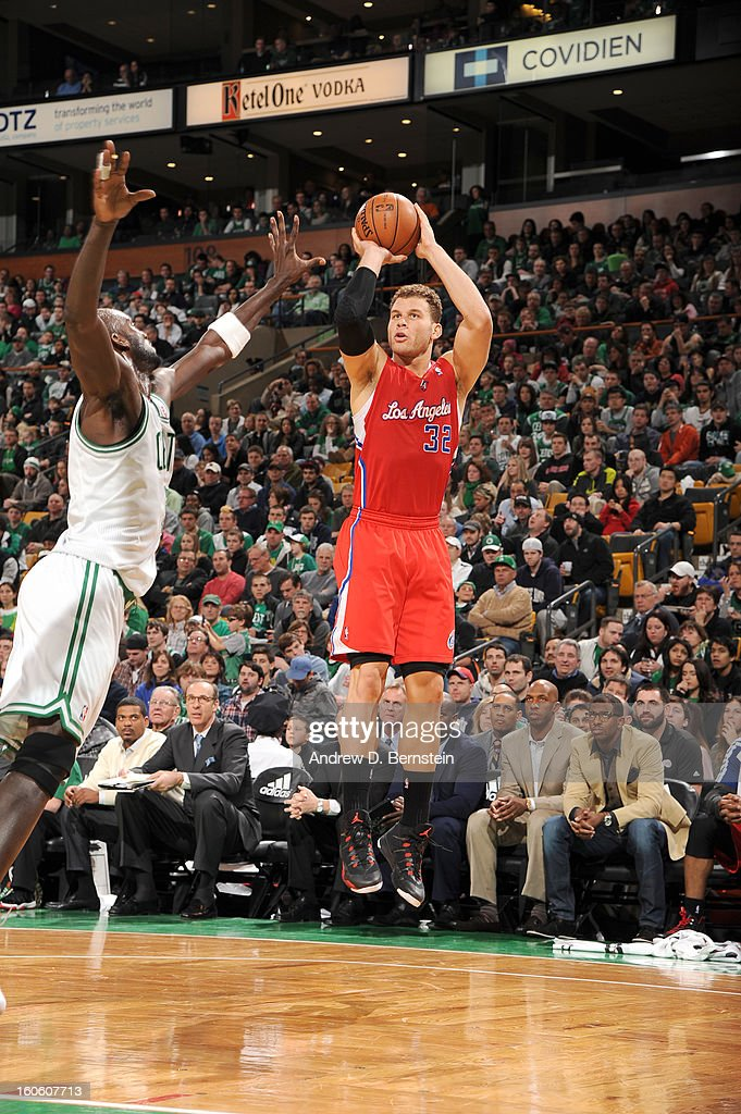 Blake Griffin #32 of the Los Angeles Clippers goes for a jump shot against Kevin Garnett #5 of the Boston Celtics during the game between the Boston Celtics and the Los Angeles Clippers on February 3, 2013 at the TD Garden in Boston, Massachusetts.