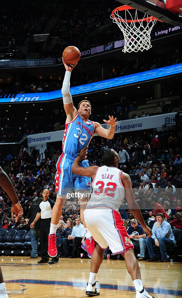 Blake Griffin #32 of the Los Angeles Clippers goes to the basket against Boris Diaw #32 of the Charlotte Bobcats during the game between the Los Angeles Clippers and the Charlotte Bobcats on February 11, 2012 at Philips Arena in Atlanta, Georgia.