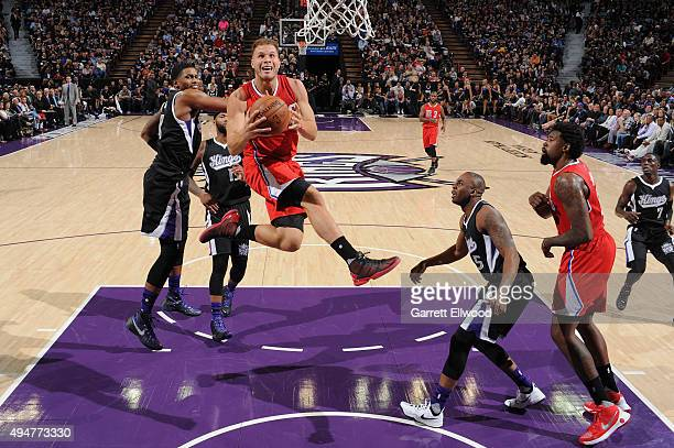 Blake Griffin of the Los Angeles Clippers goes to the basket against the Sacramento Kings on October 28 2015 at Sleep Train Arena in Sacramento...